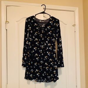Hollister bell sleeves summer dress navy